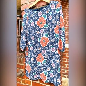 Old Navy Blue Floral 60s Style Mini Dress